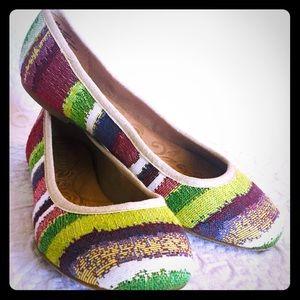 Born Multicolor Striped Fabric Ballet Flats